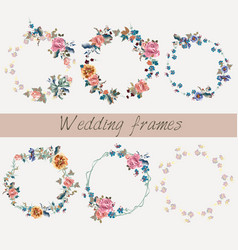 Set wedding floral frames in watercolor style vector