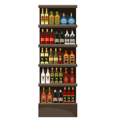 Shelves with alcohol drinks vector