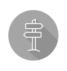 Signpost flat linear long shadow icon vector