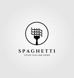 Spaghetti pasta logo minimalist design vector