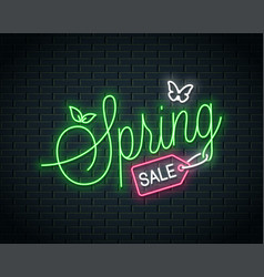 spring sale neon lettering neon banner of spring vector image