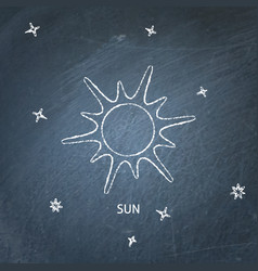 Sun icon on chalkboard vector