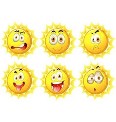 Sun with different facial expressions vector