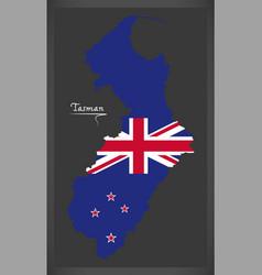 Tasman new zealand map with national flag vector