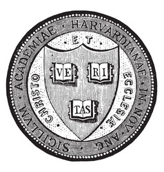 The seal of harvard university in massachusetts vector