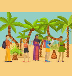 tourists different nationalities with phones vector image