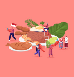 Traditional indonesian cuisine concept people in vector