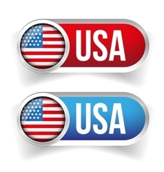USA flag button set vector image