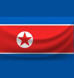 waving national flag of north korea vector image
