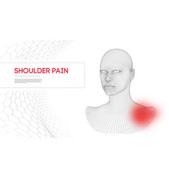 Woman with shoulder pain wireframe head 3d vector
