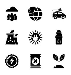 World energy icons set simple style vector