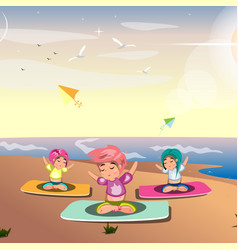young lady practicing yoga on the sea vector image