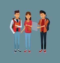Young students cartoon vector