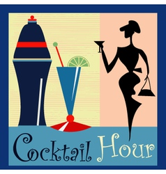 Retro Cocktail background vector image