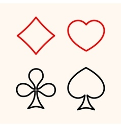 Set of playing card suits flat line style icon vector image vector image