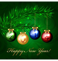 2014 - christmas tree with colorful decorations vector image vector image