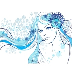 Beautiful girl and snowflakes vector image
