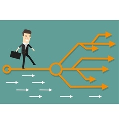 Businessman chooses the right path success vector