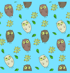 cute kids seamless pattern with funny owls vector image vector image