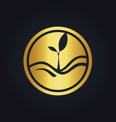 plant gold ecology logo vector image vector image