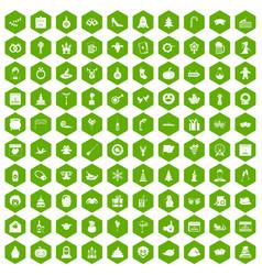 100 holidays icons hexagon green vector image vector image