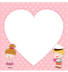 Boy and girl with white blank vector image vector image
