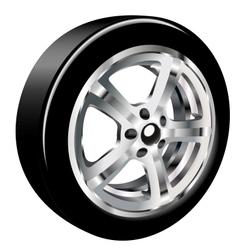 car wheel with a tire vector image