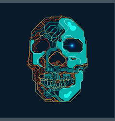 electronic skull vector image vector image
