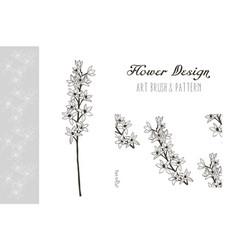 flower design art brush and pattern vector image vector image
