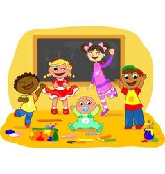Happy kids in a school class vector image