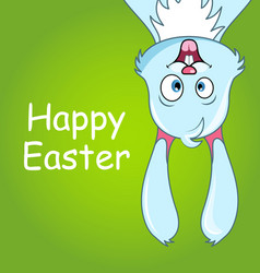 Happy smiling rabbit for easter cute comic bunny vector