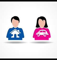 Male Female thinking about their home and car vector image vector image