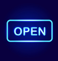 open neon sign vector image vector image