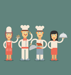 chef cook man and woman waitress in uniform in vector image