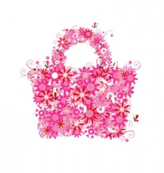 floral shopping bag vector image vector image