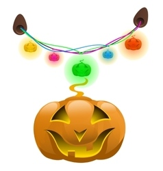 Glowing pumpkins and colorful garland decor vector image vector image