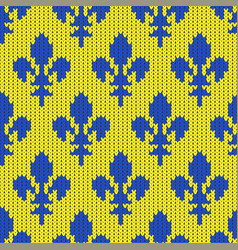 knitted lily bourbon blue on yellow vector image vector image