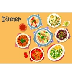 Meat and seafood dishes icon for menu design vector image vector image