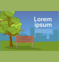 public park in evening with wooden bench under vector image
