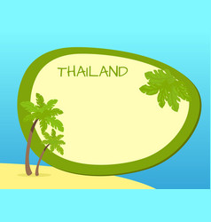 thailand island with palms and label in centre vector image vector image