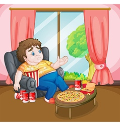 A fat boy with lots of foods vector image