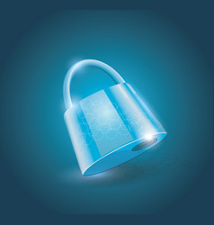 a locked lock on light blue background vector image