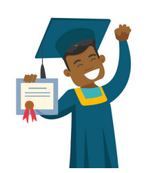 African-american graduate showing diploma vector