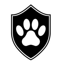 animal protection logo shild sewn with paw vector image