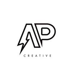Ap letter logo design with lighting thunder bolt vector