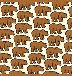 background pattern with wild bear vector image