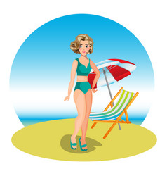 Beautiful woman on tropical beach vector