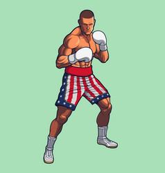 boxing fighter wearing usa flag shorts vector image