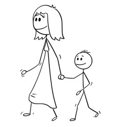 cartoon of mother walking with son and holding vector image