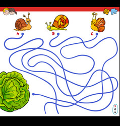 Cartoon paths maze game with snails and lettuce vector